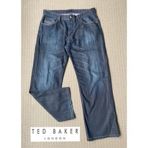Ted Baker Blue Mid Rise Straight Leg Jeans W34 L30
